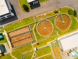 Aerial view of public sewage treatment plant for 22, 000 inhabitants of Klatovy city in Czech Republic, Europe. Environment and industry from above.  - 163701223