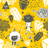 Seamless pattern with strange creations and design elements.