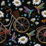 Embroidery bicycle camomiles flowers and humming birds  seamless pattern. Fashionable summer pattern embroidery bicycle humming bird and white camomiles romantic art, template clothes - 163718828