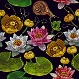 Water lily embroidery seamless pattern. Classical embroidery pink and white lotuses and water lilies, template fashionable seamless pattern clothes, t-shirt design vector - 163718850