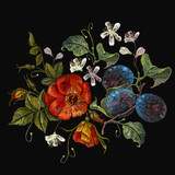 Embroidery plums and poppies cherry flowers seamless pattern. Classical embroidery red poppies and branch of plum on black background, template clothes, t-shirt design, print, renaissance style - 163718866