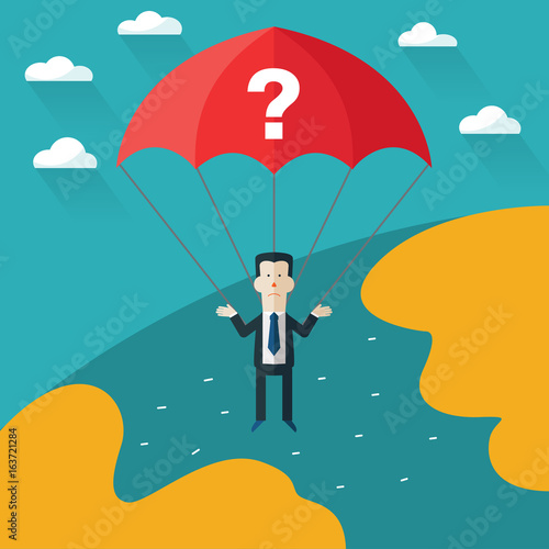 Confused businessman with parachute over world map. Concept of businessman fail and problems
