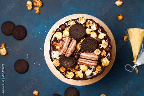 Party Cake With Macaroons And Popcorn Birthday Concept Top View Flat Lay