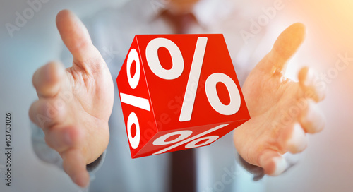 Businessman using white and red sales flying icons 3D rendering - 163733026