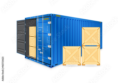 Vector of cargo container or shipping container and wood crate for logistics and transportation work isolated on white background. - 163733623