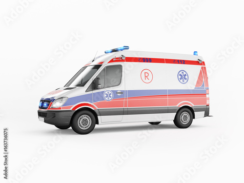 Fototapeta Ambulance emergency on a white background. 3D rendering