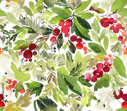 Cotton fabric Seamless watercolor Christmas pattern with berries and spruce
