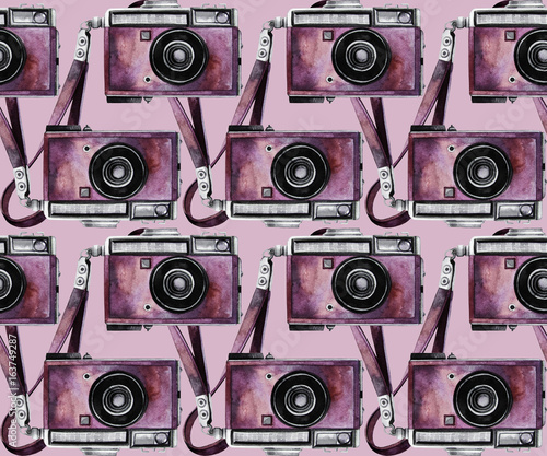 Fototapeta Watercolor vintage camera pattern