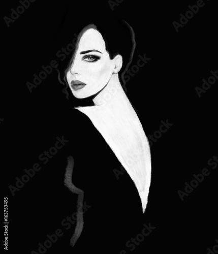 Woman in black dress. fashion illustration