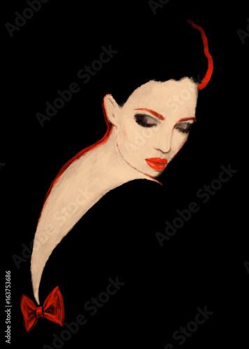 Woman in black dress. fashion illustration