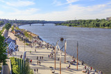 Warsaw, section of Vistula boulevards between  Swietokrzyski Bridge and  Silesian-Dabrowski Bridge. Sundey afternoon. - 163754205