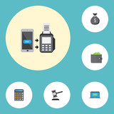 Flat Icons Finance Sack, Computer, Verdict And Other Vector Elements. Set Of Finance Flat Icons Symbols Also Includes Cash, Sack, Payment Objects. - 163755495
