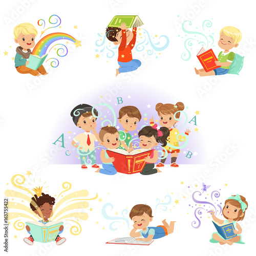 Cute little kids reading fairy tales set. Childrens dream world colorful vector illustrations © topvectors