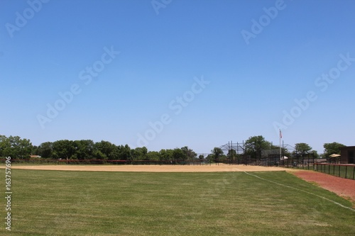 The baseball diamond from behind the left field fence.