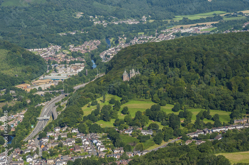 Aerial views of Castle Coch form a helicopter Cardiff, South Glamorgan, Wales, UK 12 Poster
