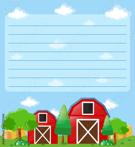 Paper template with barns in the farm