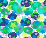 Seamless pattern in cartoon style with stars and polka dot. Colorful seamless texture for children, vector.