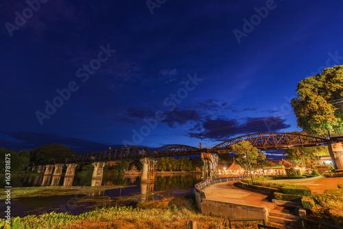 Bridge River Kwai with at night in Kanchanaburi, Thailand
