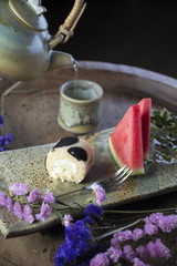 Food series: Cake roll with watermelon and hot tea