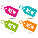 New price Tags. Flat Eps10 Vector Illustration. - 163784075