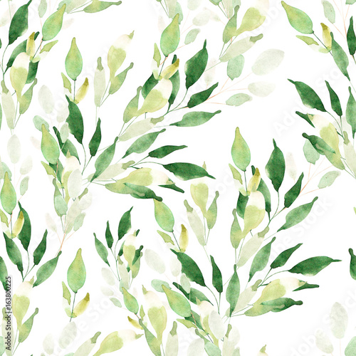 Bright watercolor pattern with leaves. Illustration © knopazyzy