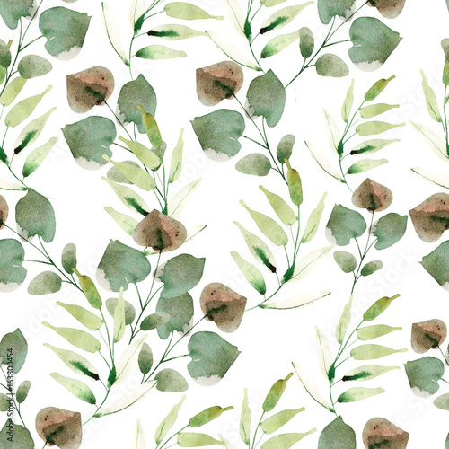 Bright watercolor pattern with leaves. Illustration - 163800454