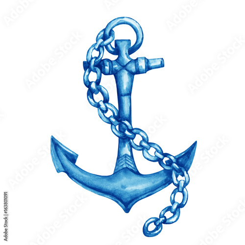 Illustration of antique ship blue anchor with chain. Hand drawn watercolor painting on white background.