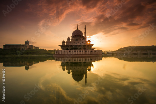 scenery of sunrise at public mosque putrajaya.soft focus,motion blur due to long exposure