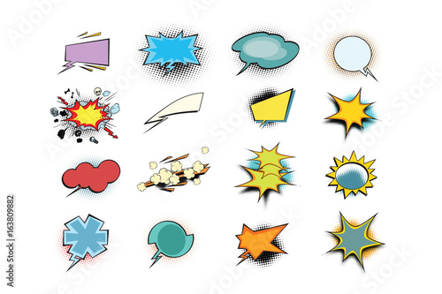 set of colored comic book bubbles isolated on white background - 163809882