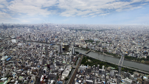 Top view of urban tokyo city from sky tree tembo deck