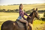 Woman ride horse - 163816470