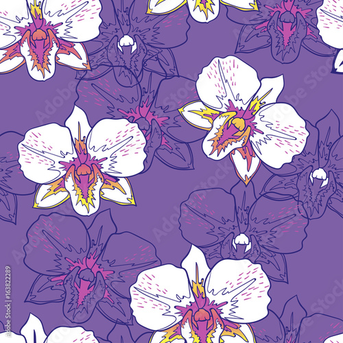 Seamless floral pattern white orchids