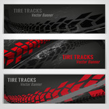 Tire track banners - 163824687