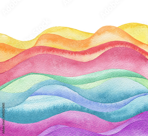 Abstract wave watercolor painted background. Paper texture. - 163826065
