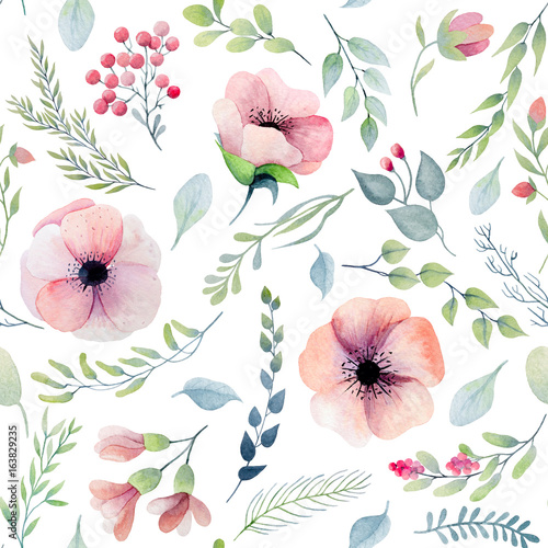 Seamless floral pattern with pink flowers - 163829235