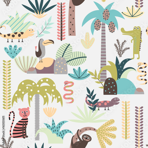 Fototapeta Seamless background with cartoon jungle animals