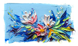 Oil painting flowers. On a white background. - 163831844
