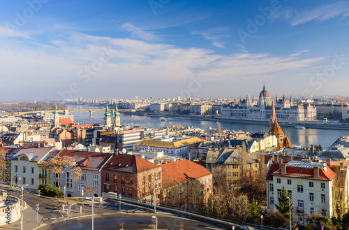 Aerial view of Budapest with the Parliament and the Danube on a Sunny winter day, Budapest, Hungary