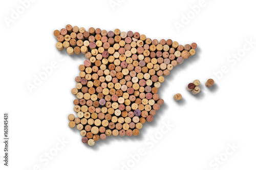 Countries winemakers - maps from wine corks. Map of Spain on white background.