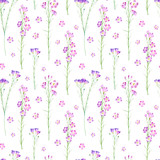 Floral seamless pattern of a wild flowers on a white background.Bluebell flowers. Watercolor hand drawn illustration.