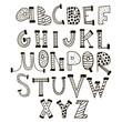 Funny childish hand drawn alphabet. Vector creative font. - 163848814