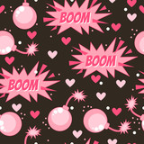 Happy Valentine's Day. Dangerous love. Seamless pattern with funny design element.