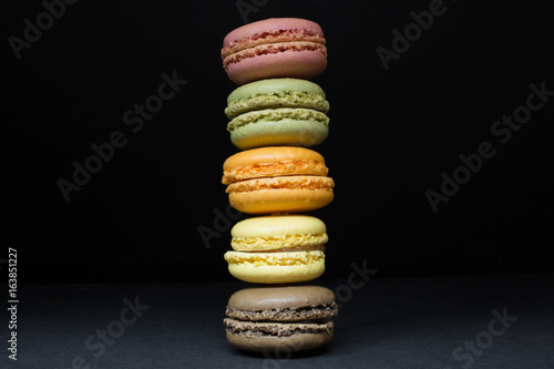 Aluminium Macarons French Macarons, Vertical Stack on Black