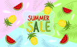 Summer banner with watermelon and pineapple - 163853463