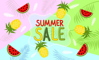 Summer banner with watermelon and pineapple