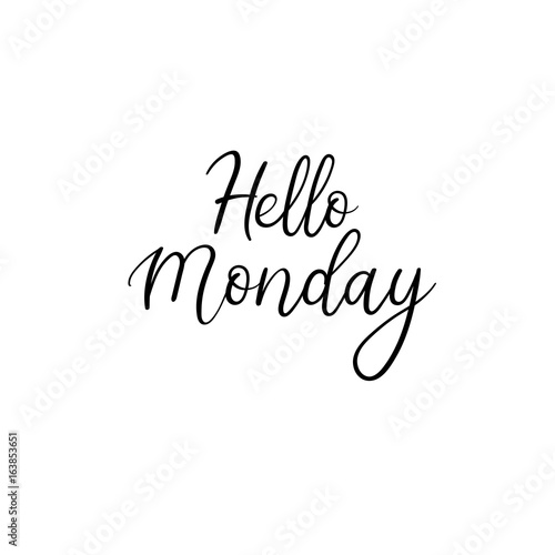 Hello Monday. Hand written modern calligraphy. Brush painted letters, vector