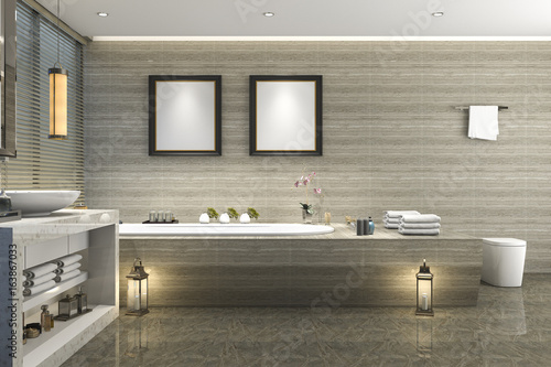 3d rendering modern classic bathroom with luxury tile decor with nice nature view from window - 163867033