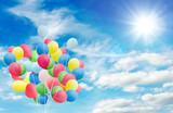 Happiness, summer, wedding, birthday, honeymoon party: Multicolor ballons, blue sky, clouds and sun :)