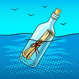 Fototapety Message in bottle pop art vector illustration
