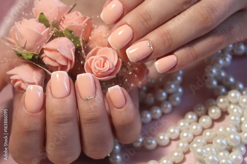 Beautiful manicure gel with lacquer Flowers